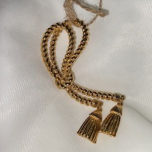 Gold Tone Lariat Rope Brooch with Tassels